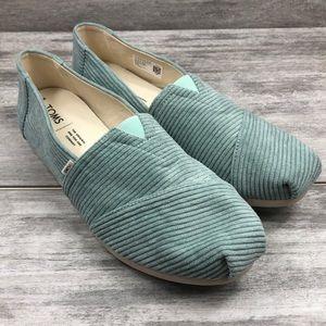 Toms blue faux velvet textured slip on shoe